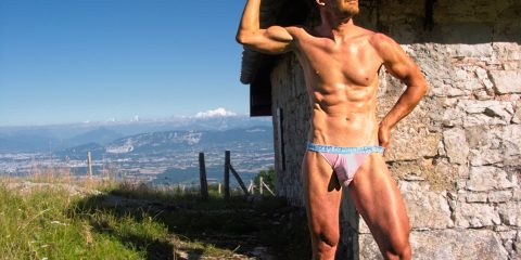 Series D - Young & Free limited edition brief in pink. Presently also available in black or blue.