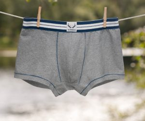 Bluebuck underwear mens-underwear-organic-cotton-grey-trunk-blue-stitching