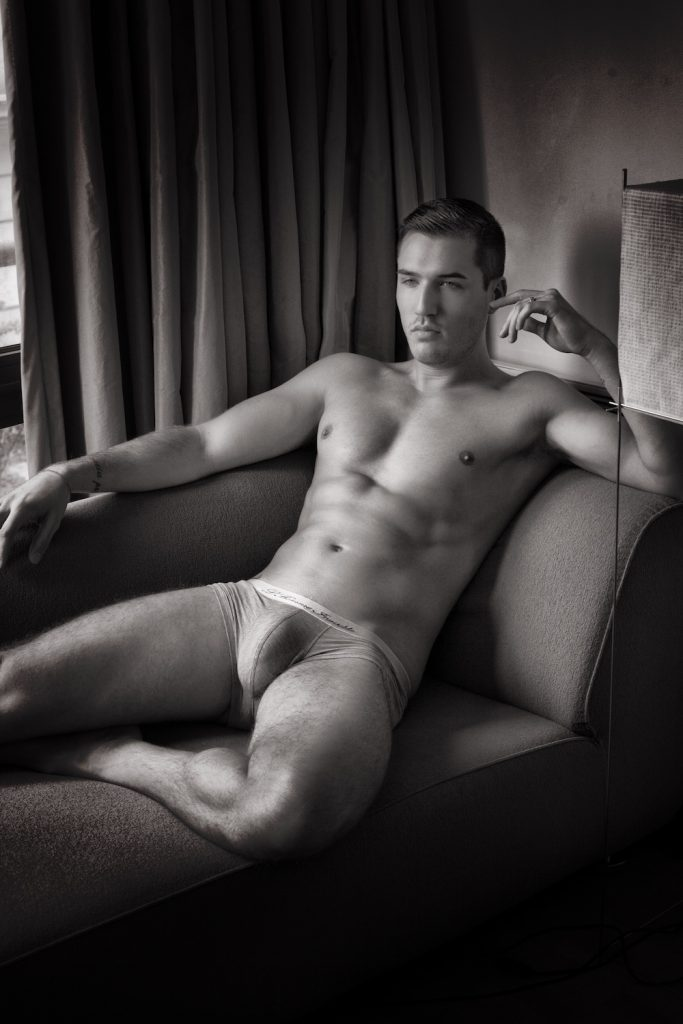 Theo Ford in L'Homme Invisible underwear