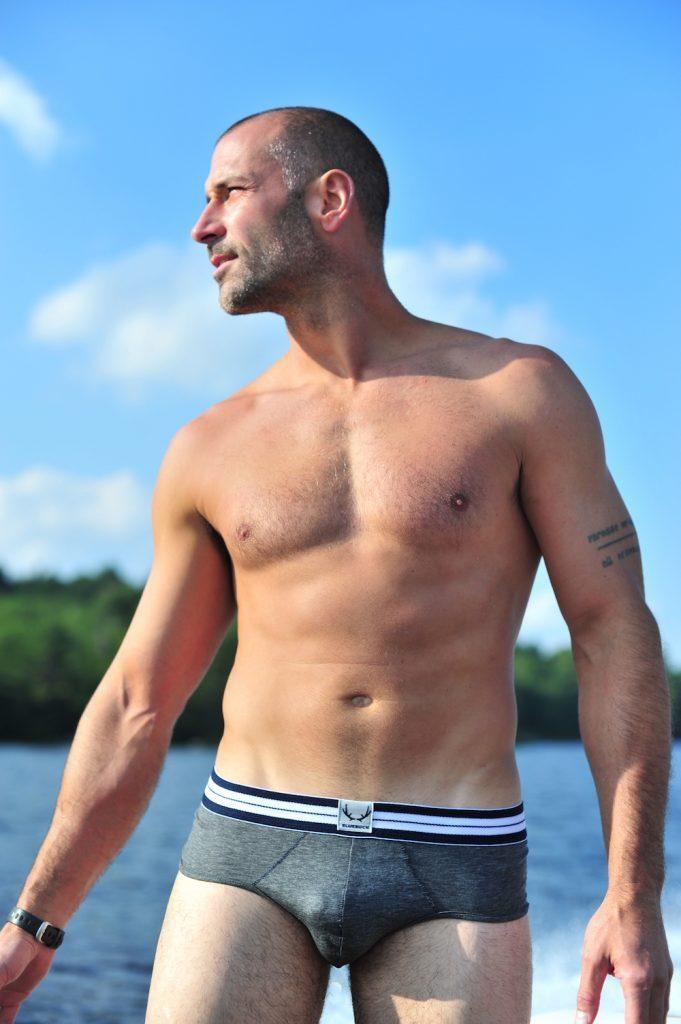 Bluebuck underwear - Grey briefs with navy blue stitching