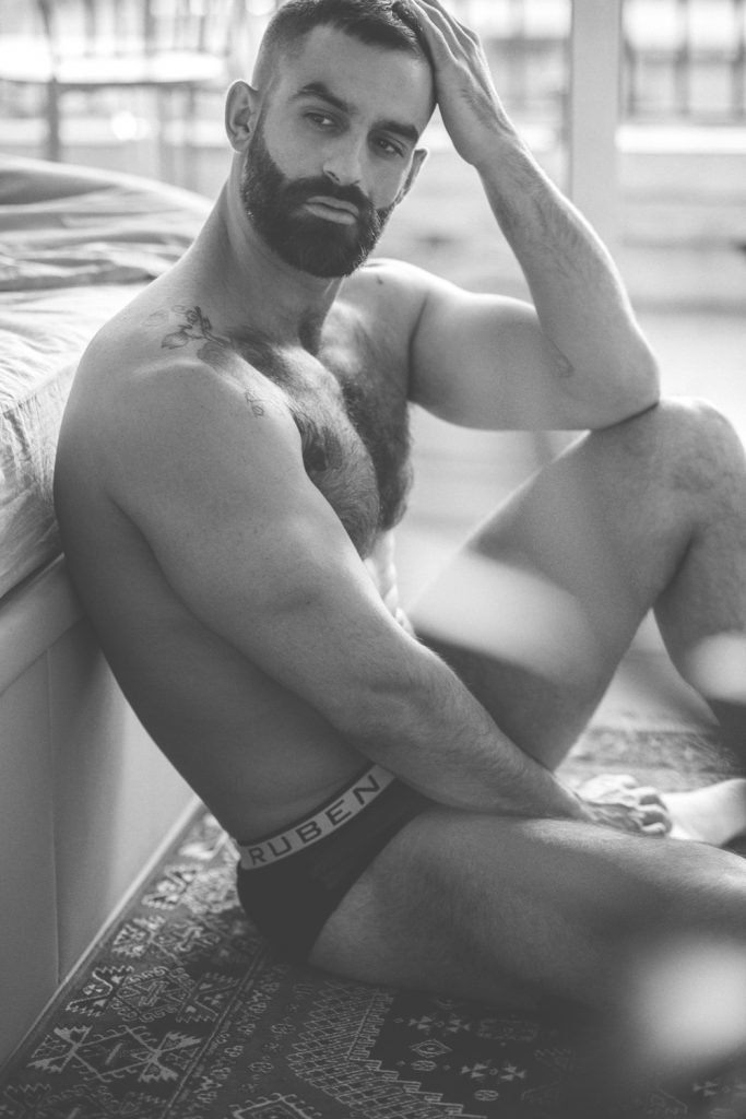 Spanish model Luche gets photographed in undies by Ruben Galarreta photographed by Borja Penacho