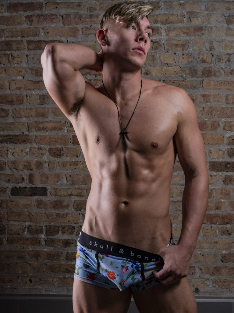 Chris Monasmith photographed by Bradley French – Skull and Bones underwear