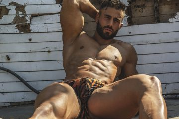 Model Néstor gets photographed by Chostudio Fitness in swimwear by Spanish brand OSSMEN in Eroticco Magazine.