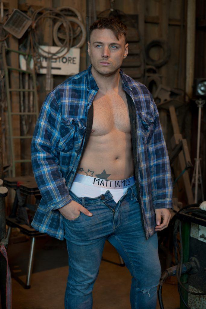 Matt James underwear white boxers Model Perrie by Markus Brehm