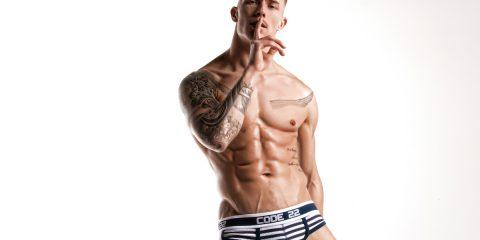 CODE 22 underwear - Naval Briefs - Model Tomi Lappi by Joan Crisol