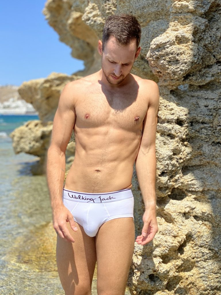 Walking Jack underwear - white briefs Solid - model Statis for Men and Underwear