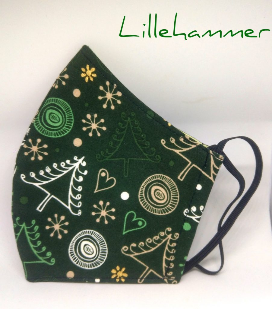Handmade Face Covering - Mask with cotton and gause - Lillehammer - Christmas themed