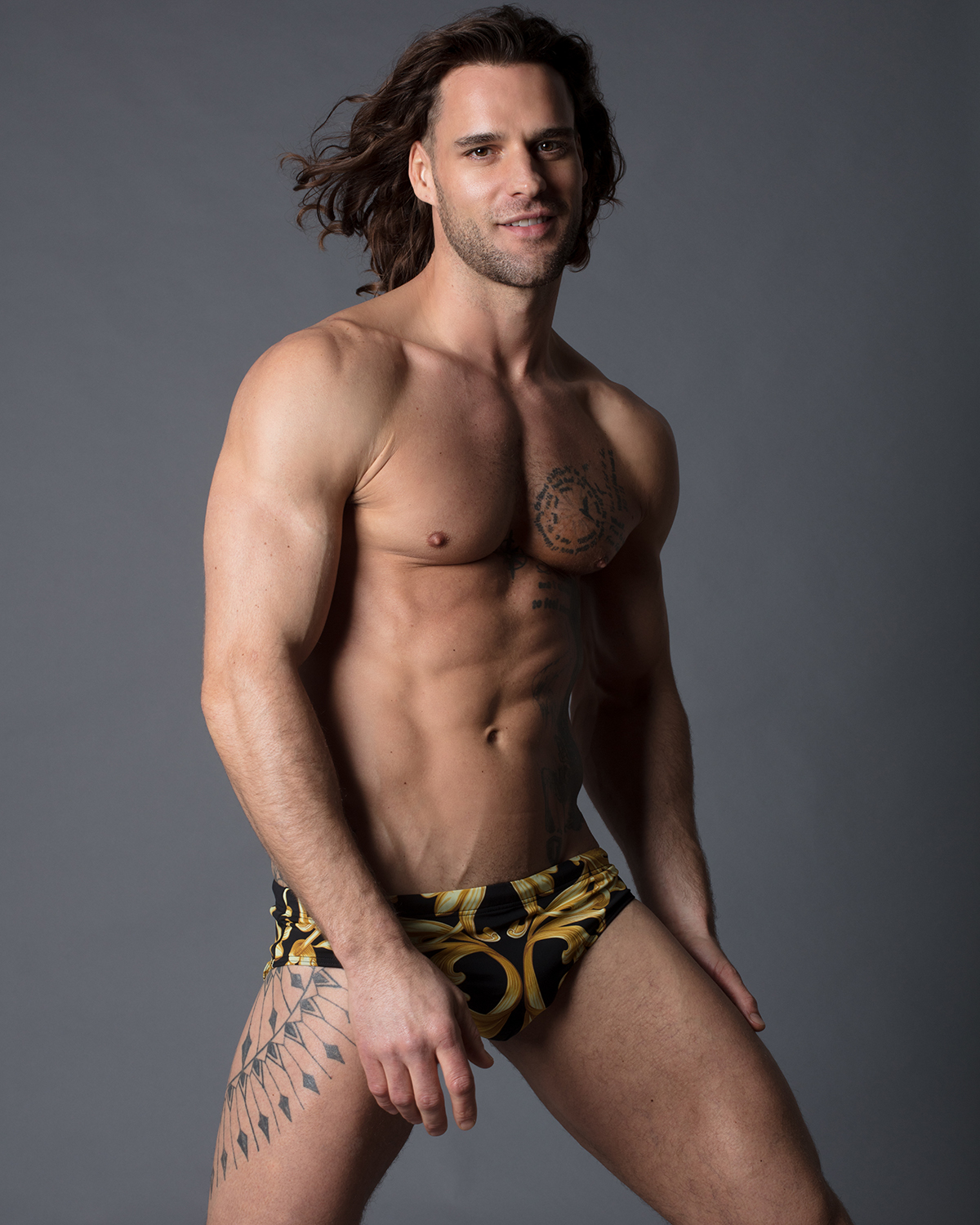 Model Thierry Pepin - Versace swimwear