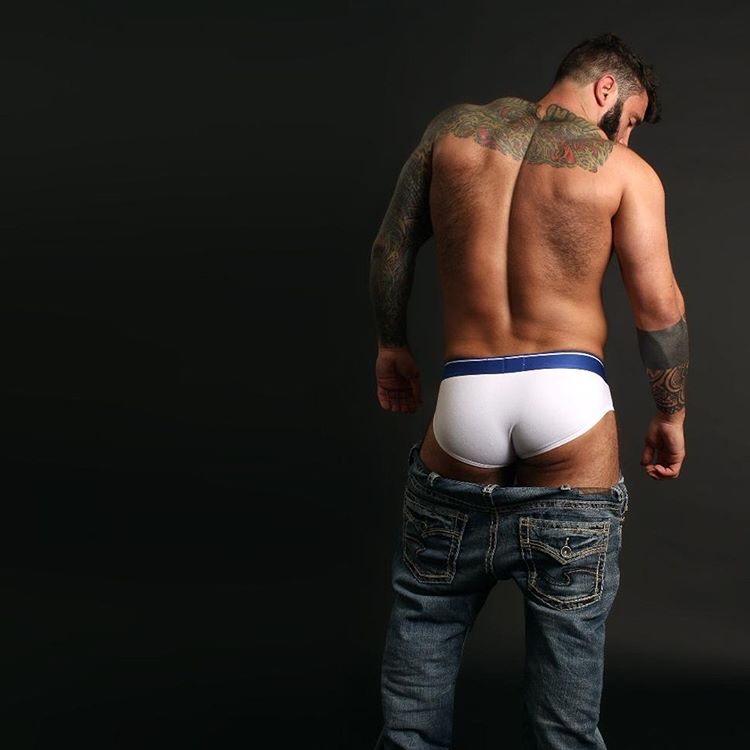 Simon Marini posing in Walking Jack underwear