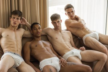 Dusan Djordjevic, Nathan Josias, Andrii Xilevich and Mario Dangen photographed by Richard Kranzin via Victor Magazine