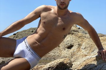 Walking Jack underwear - white briefs Solid - model Stathis for Men and Underwear